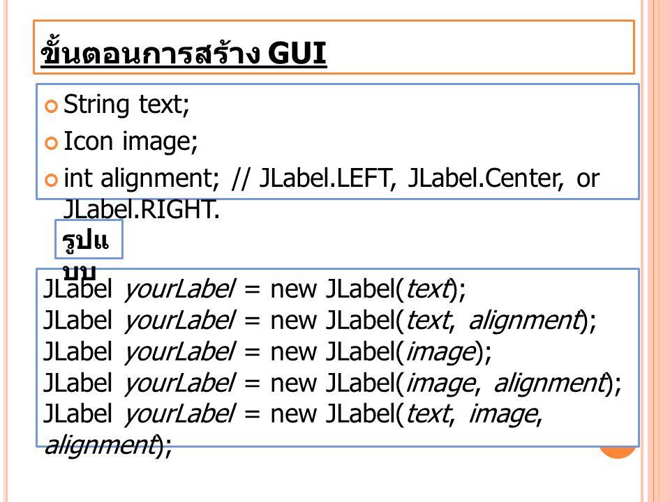 ขั้นตอนการสร้าง GUI String text; Icon image;
