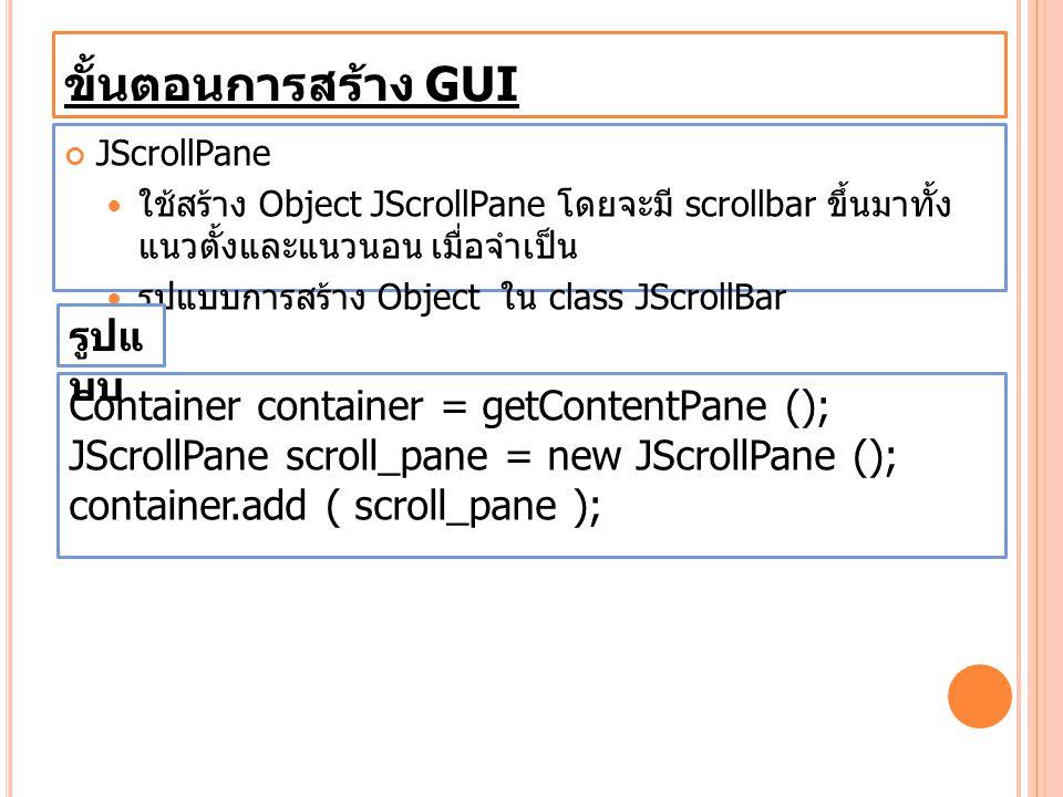 ขั้นตอนการสร้าง GUI รูปแบบ Container container = getContentPane ();