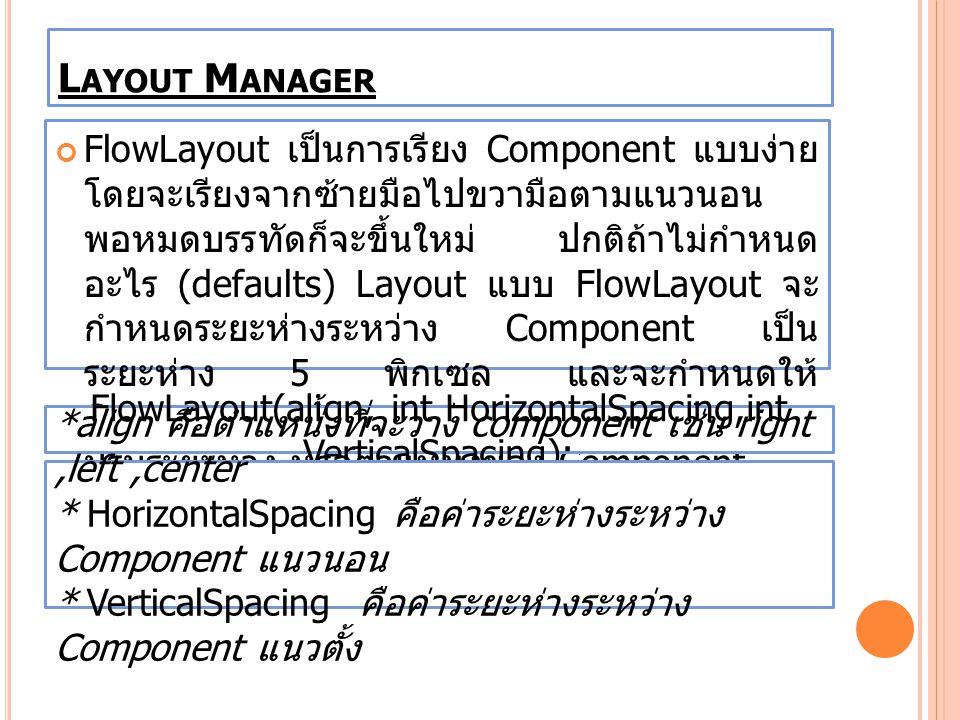 FlowLayout(align, int HorizontalSpacing,int VerticalSpacing);
