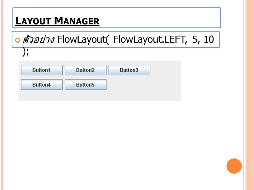 Layout Manager ตัวอย่าง FlowLayout( FlowLayout.LEFT, 5, 10 );