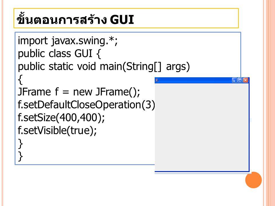 ขั้นตอนการสร้าง GUI import javax.swing.*; public class GUI {