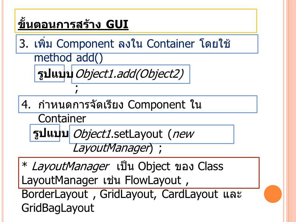 ขั้นตอนการสร้าง GUI เพิ่ม Component ลงใน Container โดยใช้ method add() รูปแบบ. Object1.add(Object2) ;