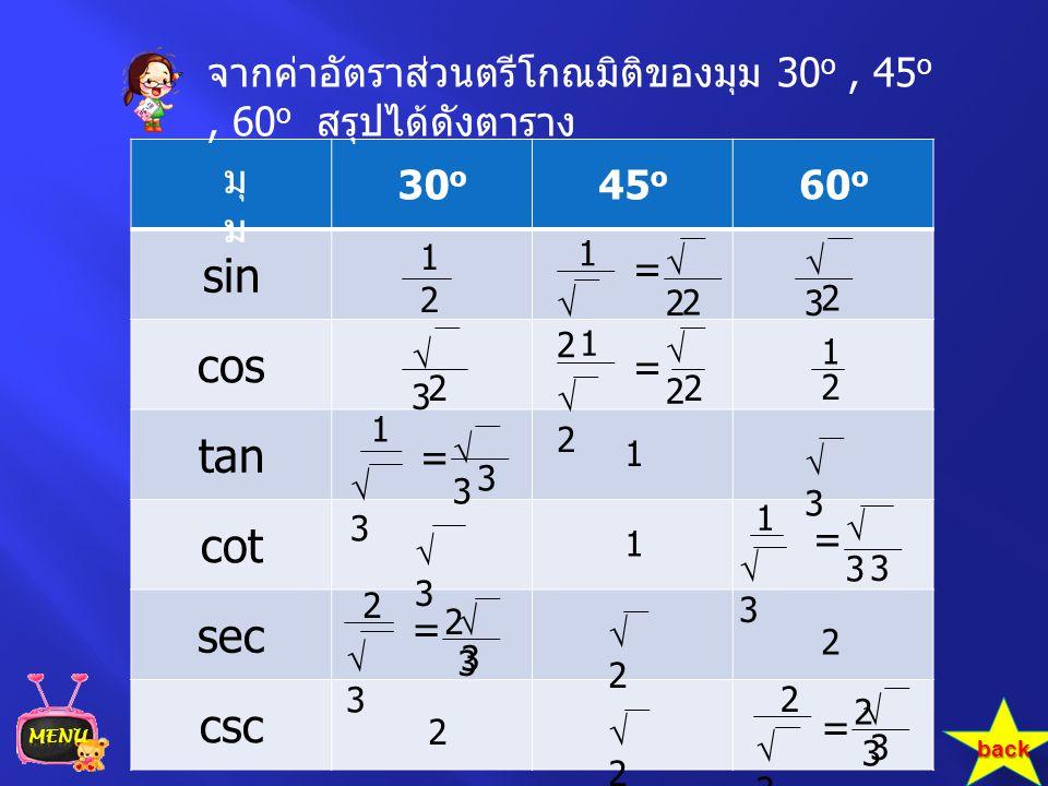 จากค่าอัตราส่วนตรีโกณมิติของมุม 30o , 45o , 60o สรุปได้ดังตาราง