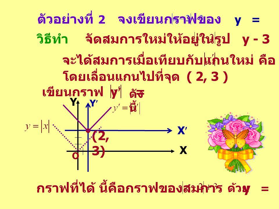 ตัวอย่างที่ 2 จงเขียนกราฟของ y =