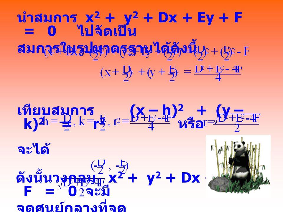 นำสมการ x2 + y2 + Dx + Ey + F = 0 ไปจัดเป็น สมการในรูปมาตรฐานได้ดังนี้