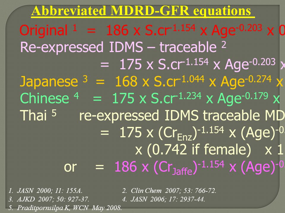 Abbreviated MDRD-GFR equations