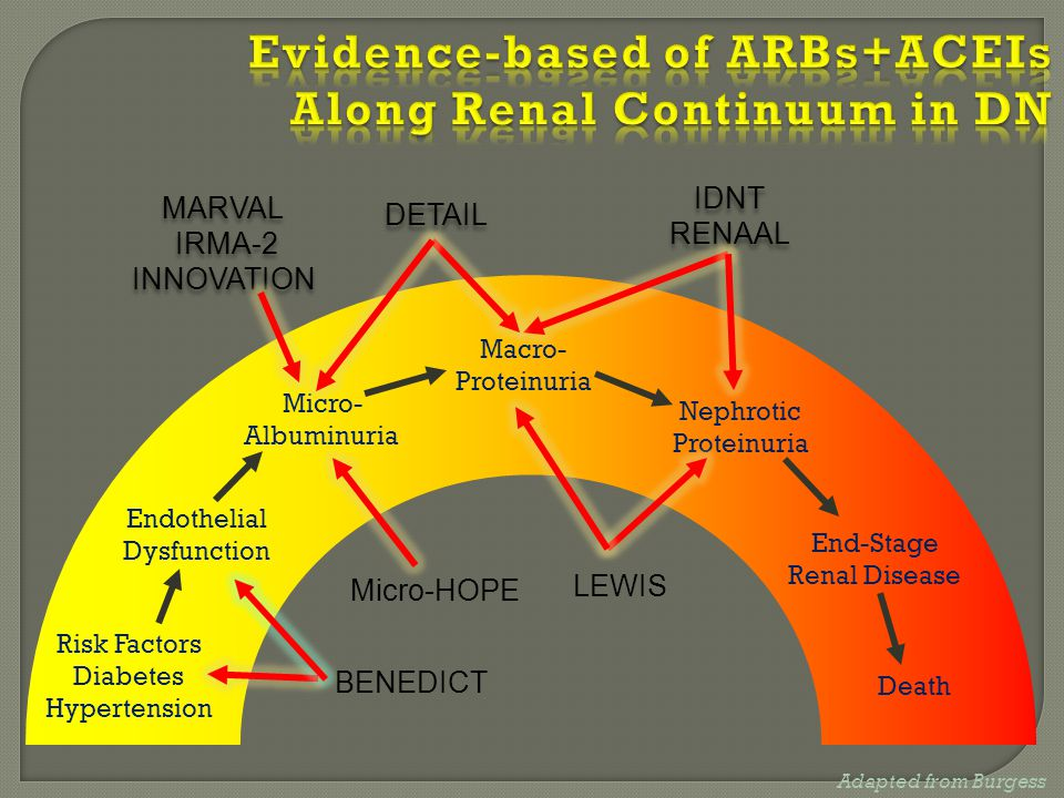 Evidence-based of ARBs+ACEIs Along Renal Continuum in DN