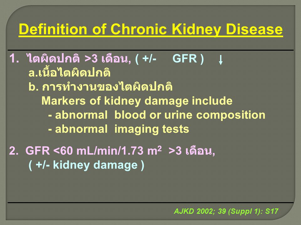Definition of Chronic Kidney Disease