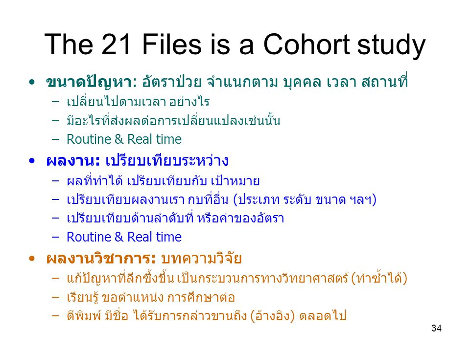 The 21 Files is a Cohort study