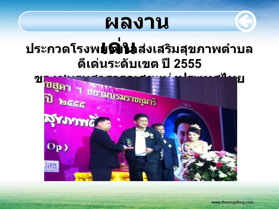 ผลงานเด่น ประกวดโรงพยาบาลส่งเสริมสุขภาพตำบลดีเด่นระดับเขต ปี 2555