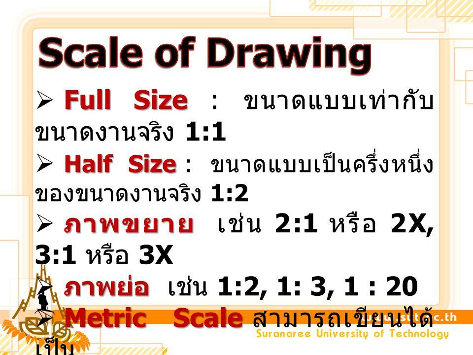 Scale of Drawing Full Size : ขนาดแบบเท่ากับขนาดงานจริง 1:1