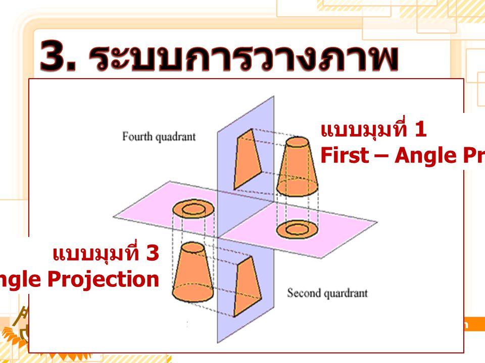3. ระบบการวางภาพ แบบมุมที่ 1 First – Angle Projection แบบมุมที่ 3