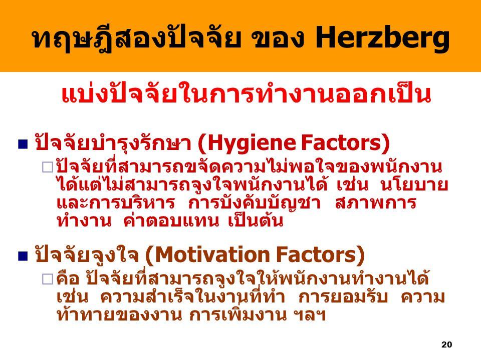 ทฤษฎีสองปัจจัย ของ Herzberg