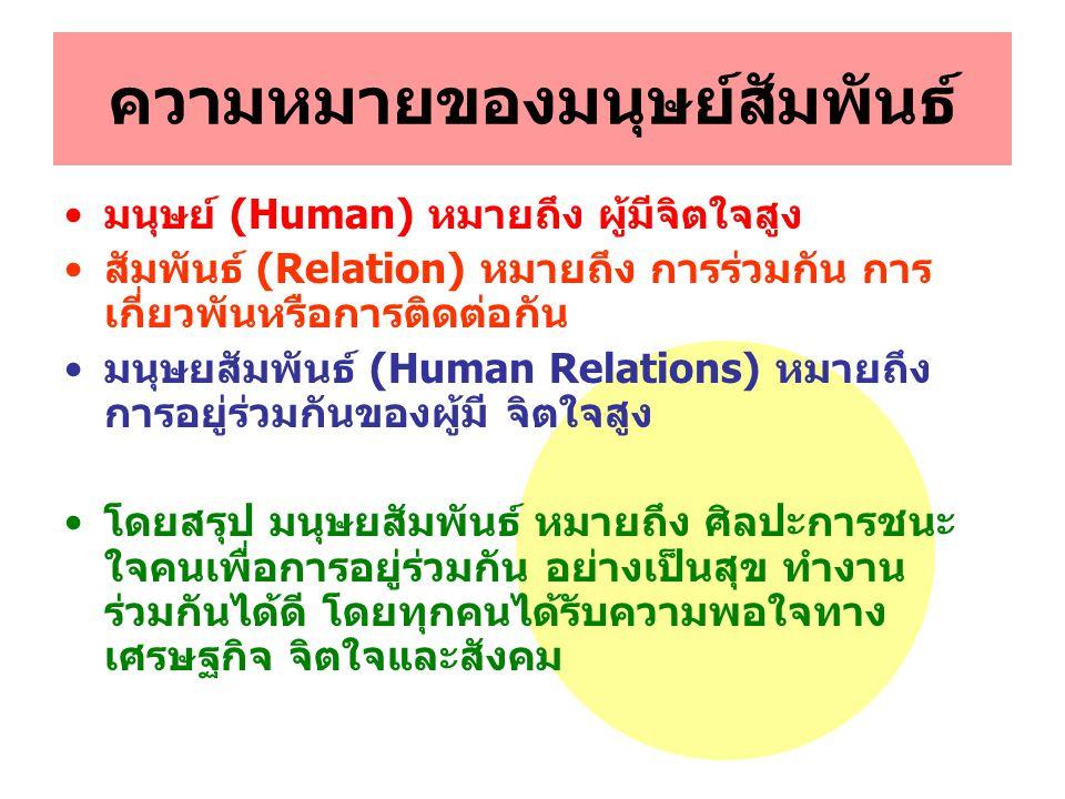 ความหมายของมนุษย์สัมพันธ์