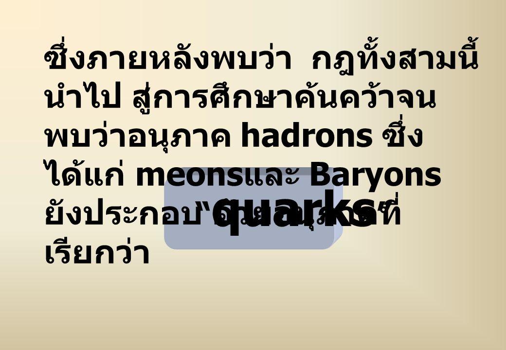 ซึ่งภายหลังพบว่า กฎทั้งสามนี้ นำไป สู่การศึกษาค้นคว้าจนพบว่าอนุภาค hadrons ซึ่งได้แก่ meonsและ Baryons ยังประกอบ ด้วยอนุภาคที่ เรียกว่า