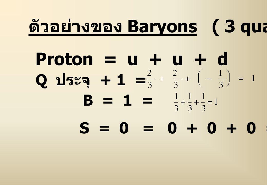 ตัวอย่างของ Baryons ( 3 quarks)