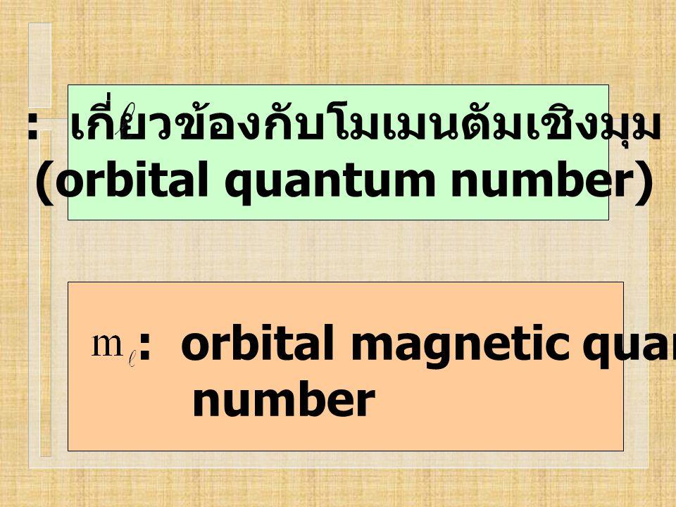 : เกี่ยวข้องกับโมเมนตัมเชิงมุม (orbital quantum number)