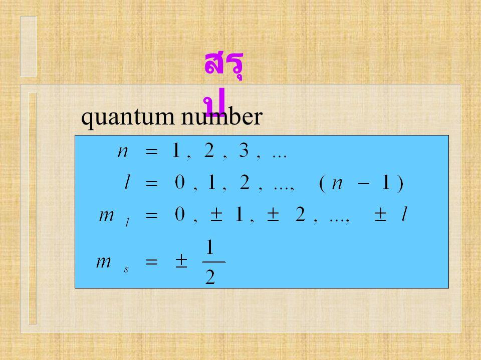 สรุป quantum number