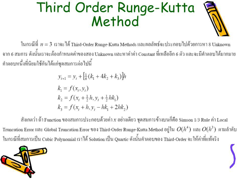Third Order Runge-Kutta Method