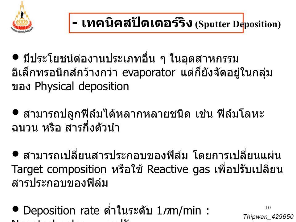 - เทคนิคสปัตเตอร์ริง (Sputter Deposition)