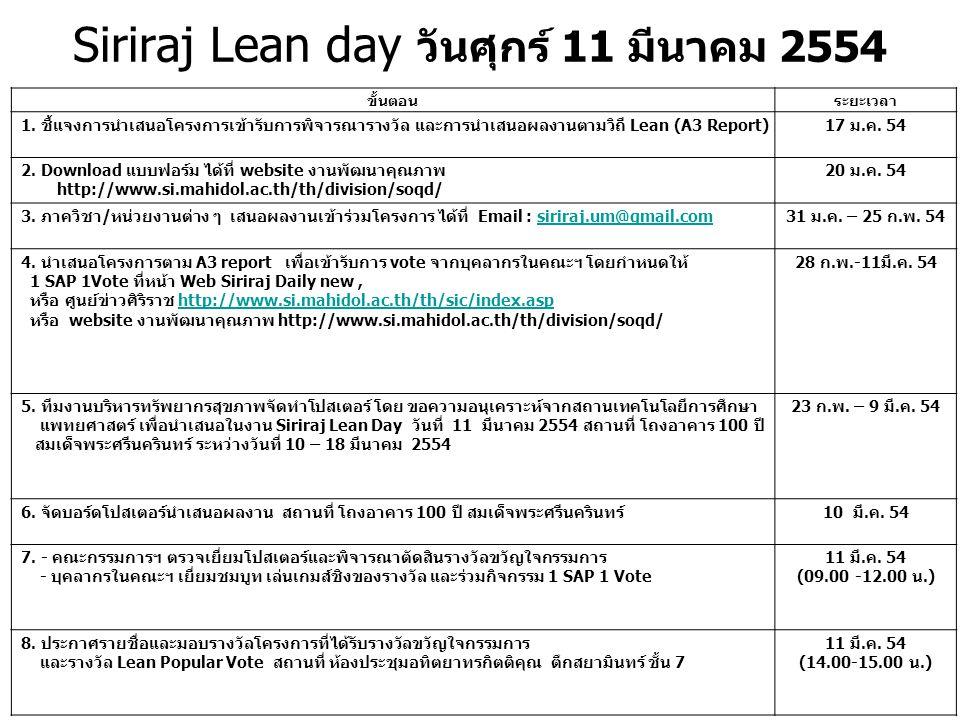Siriraj Lean day วันศุกร์ 11 มีนาคม 2554