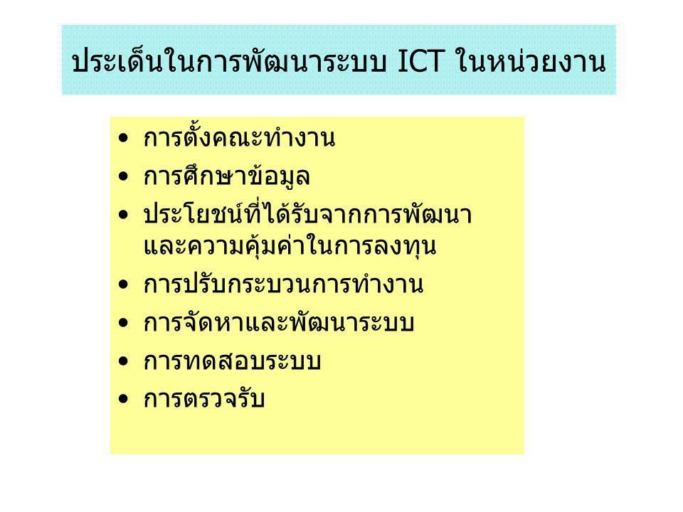 ประเด็นในการพัฒนาระบบ ICT ในหน่วยงาน