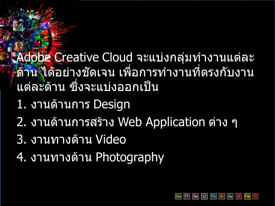 Adobe Creative Cloud จะแบ่งกลุ่มทำงานแต่ละด้าน ได้อย่างชัดเจน เพื่อการทำงานที่ตรงกับงานแต่ละด้าน ซึ่งจะแบ่งออกเป็น
