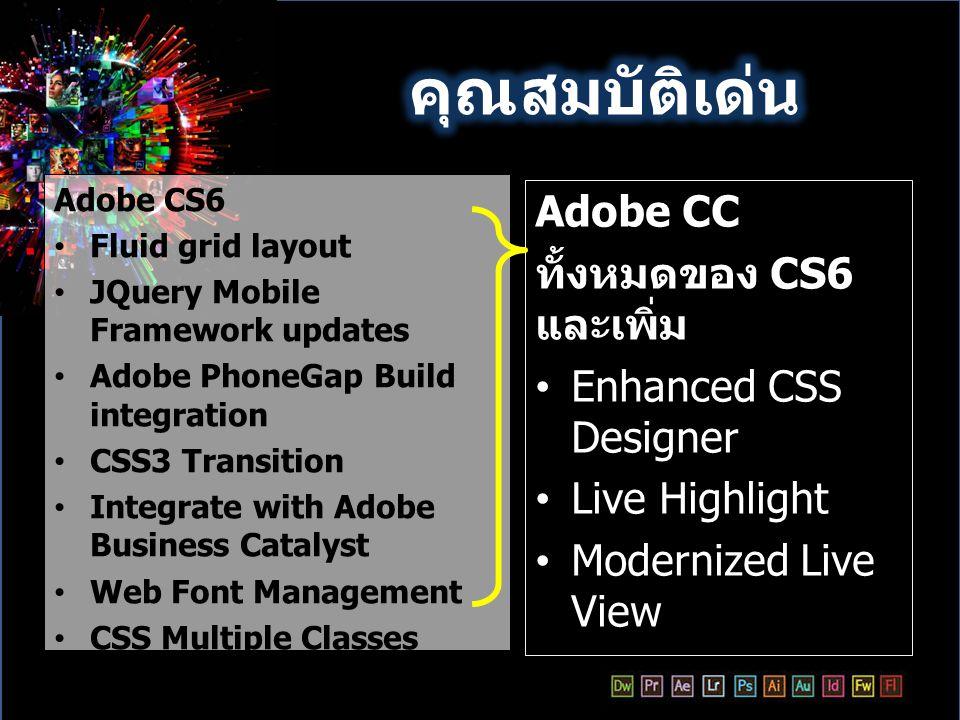 คุณสมบัติเด่น Adobe CC ทั้งหมดของ CS6 และเพิ่ม Enhanced CSS Designer