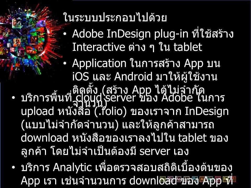 ในระบบประกอบไปด้วย Adobe InDesign plug-in ที่ใช้สร้าง Interactive ต่าง ๆ ใน tablet.
