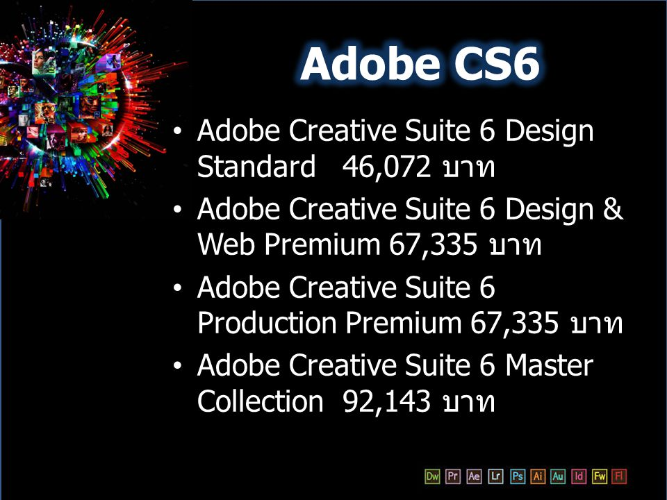 Adobe CS6 Adobe Creative Suite 6 Design Standard 46,072 บาท