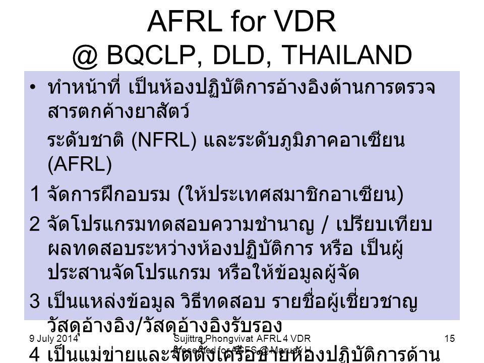 AFRL for VDR @ BQCLP, DLD, THAILAND