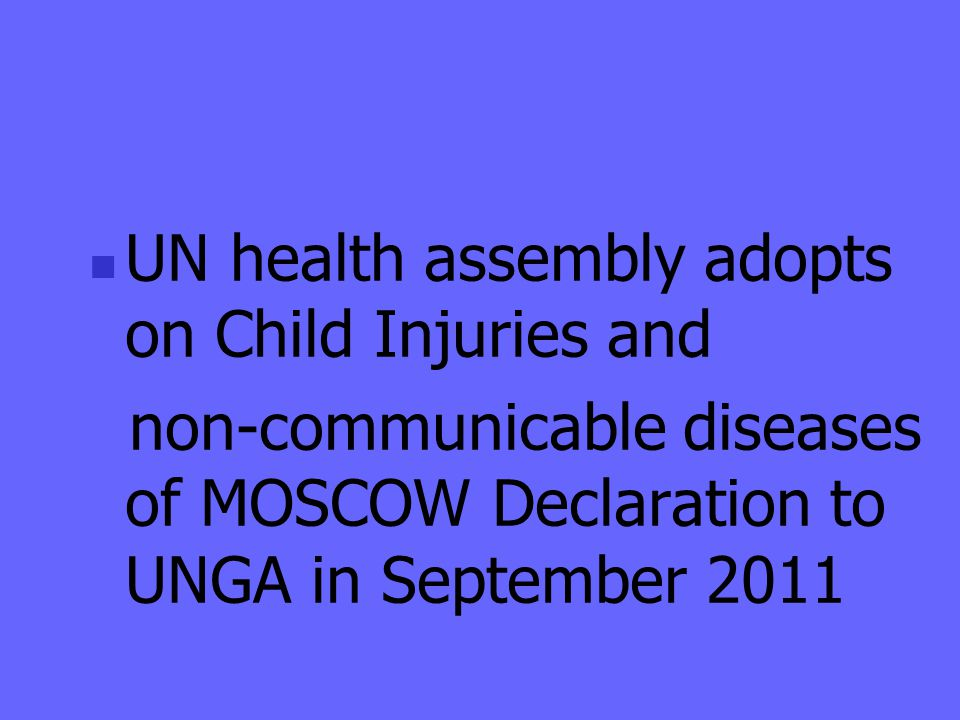 UN health assembly adopts on Child Injuries and