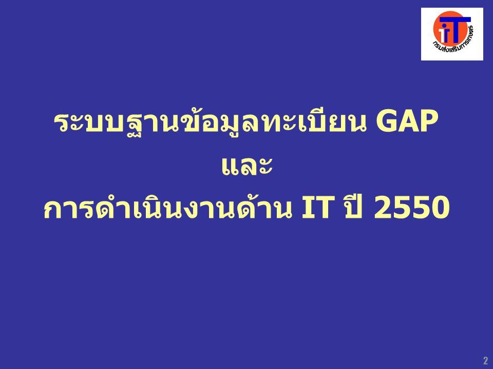 ระบบฐานข้อมูลทะเบียน GAP การดำเนินงานด้าน IT ปี 2550