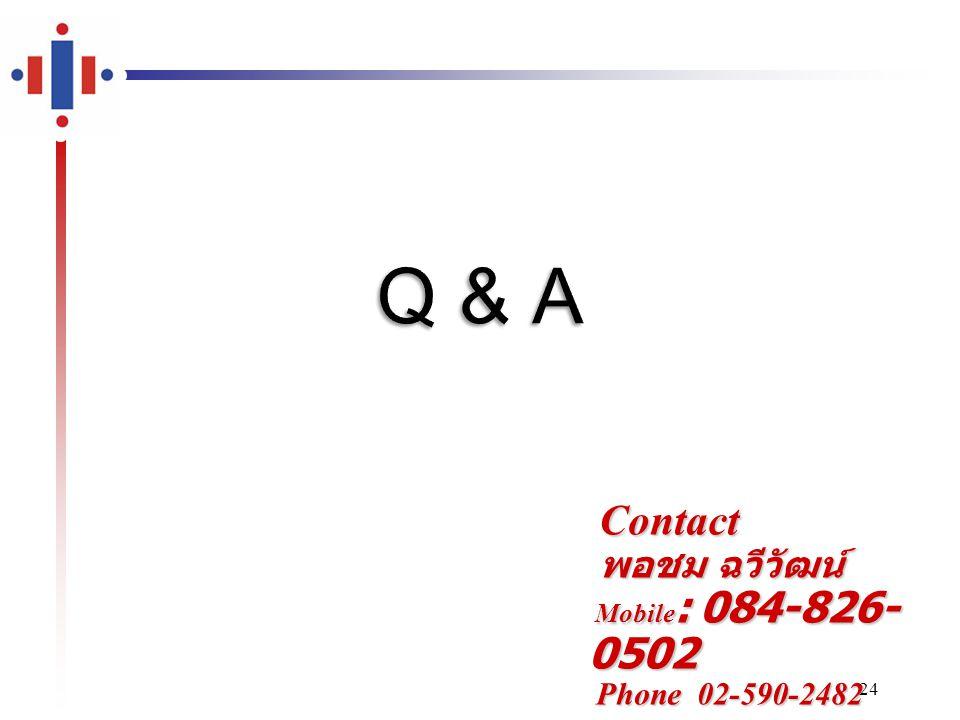 Contact พอชม ฉวีวัฒน์ Mobile: 084-826-0502 Phone 02-590-2482