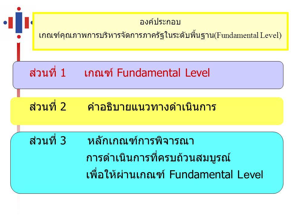 ส่วนที่ 1 เกณฑ์ Fundamental Level