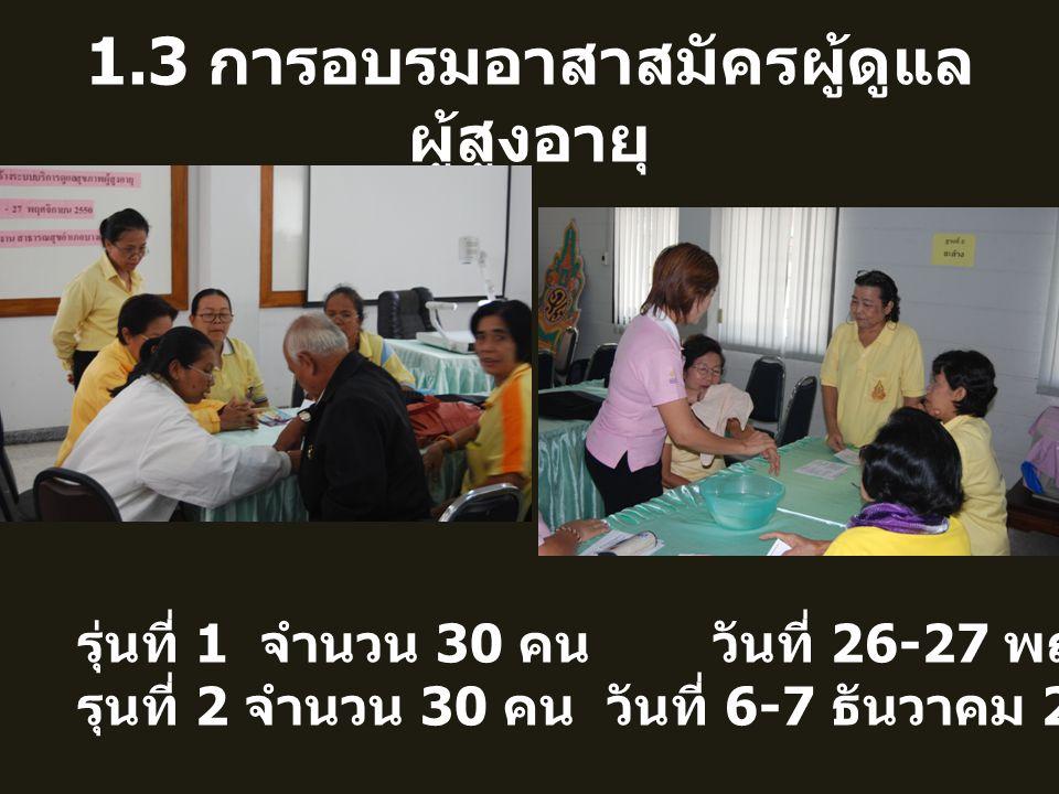 1.3 การอบรมอาสาสมัครผู้ดูแลผู้สูงอายุ
