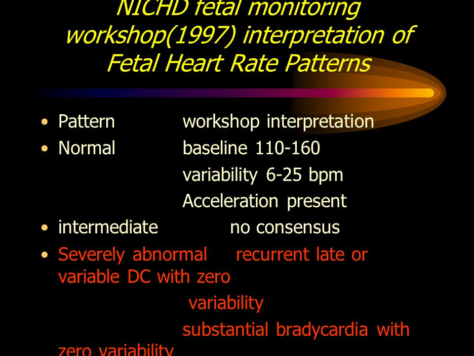 NICHD fetal monitoring workshop(1997) interpretation of Fetal Heart Rate Patterns