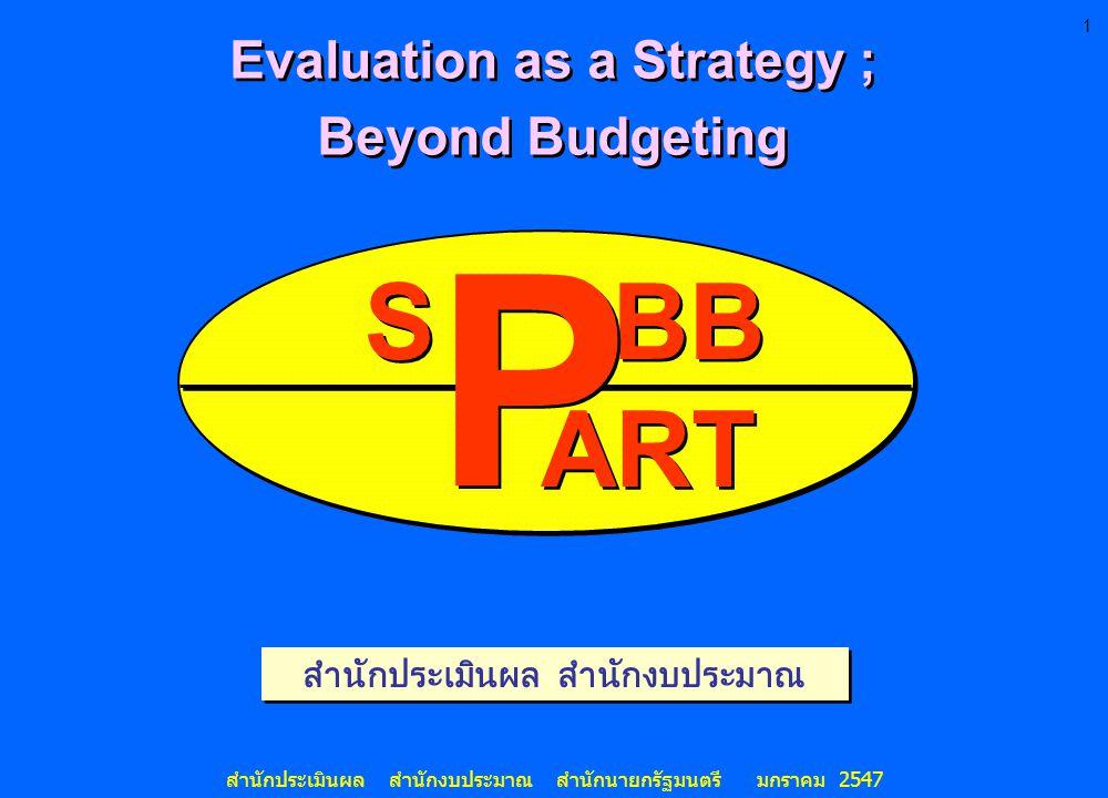 Evaluation as a Strategy ; สำนักประเมินผล สำนักงบประมาณ