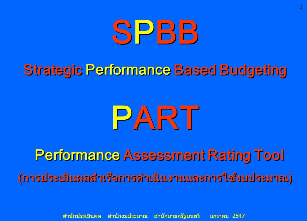 SPBB PART Strategic Performance Based Budgeting