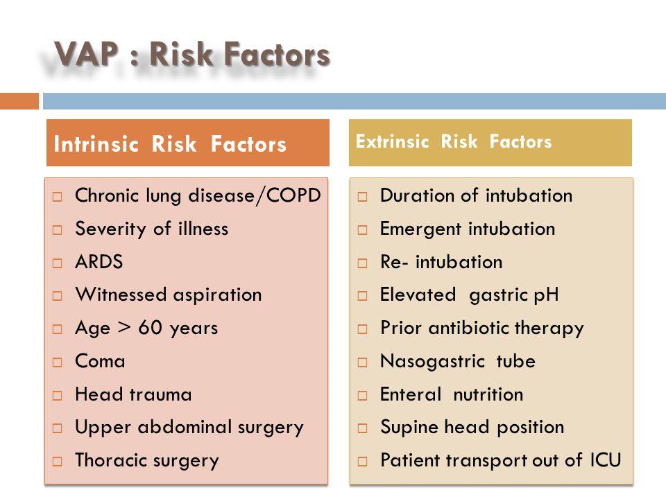VAP : Risk Factors Intrinsic Risk Factors Chronic lung disease/COPD