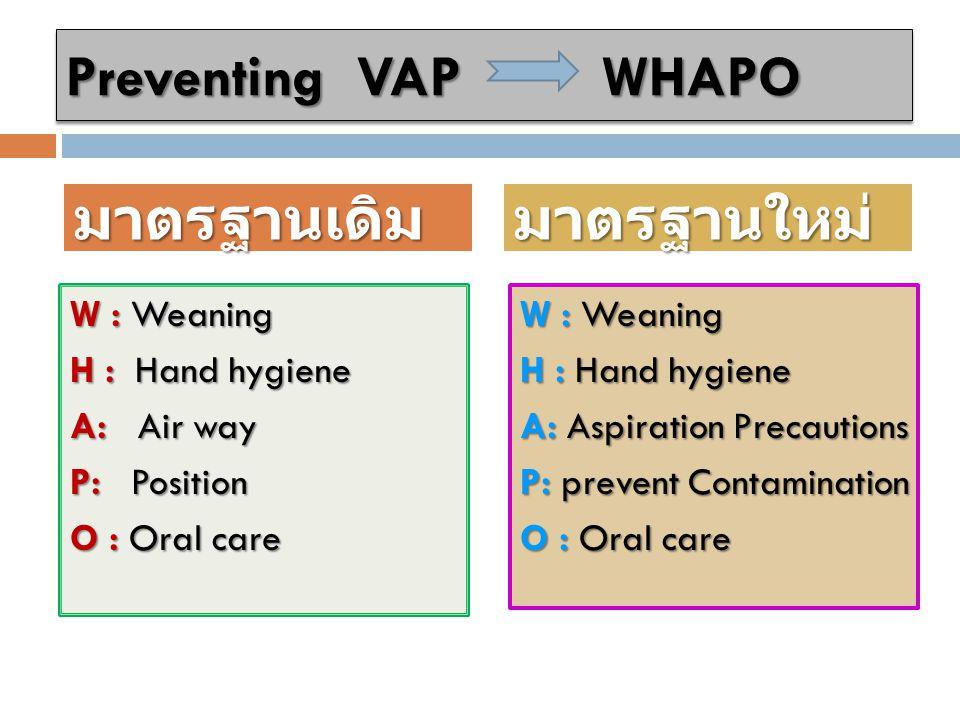 Preventing VAP WHAPO มาตรฐานเดิม มาตรฐานใหม่