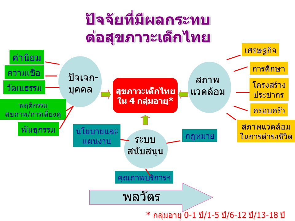 * กลุ่มอายุ 0-1 ปี/1-5 ปี/6-12 ปี/13-18 ปี