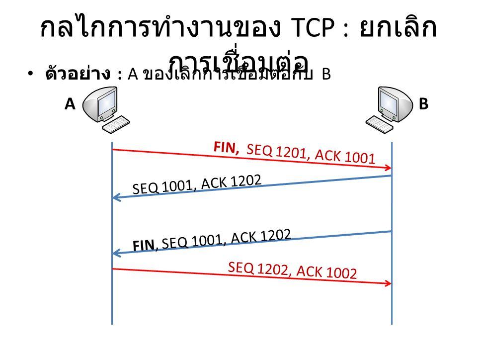 กลไกการทำงานของ TCP : ยกเลิกการเชื่อมต่อ