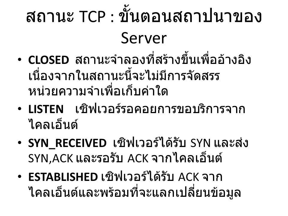 สถานะ TCP : ขั้นตอนสถาปนาของ Server