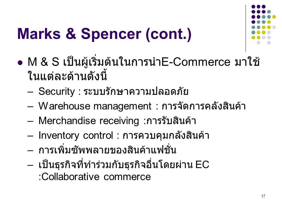 Marks & Spencer (cont.) M & S เป็นผู้เริ่มต้นในการนำE-Commerce มาใช้ในแต่ละด้านดังนี้ Security : ระบบรักษาความปลอดภัย.