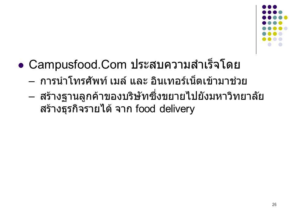 Campusfood.Com ประสบความสำเร็จโดย