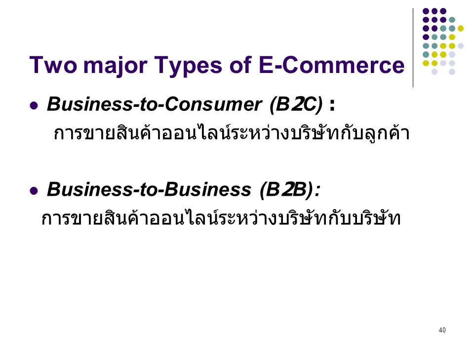 Two major Types of E-Commerce
