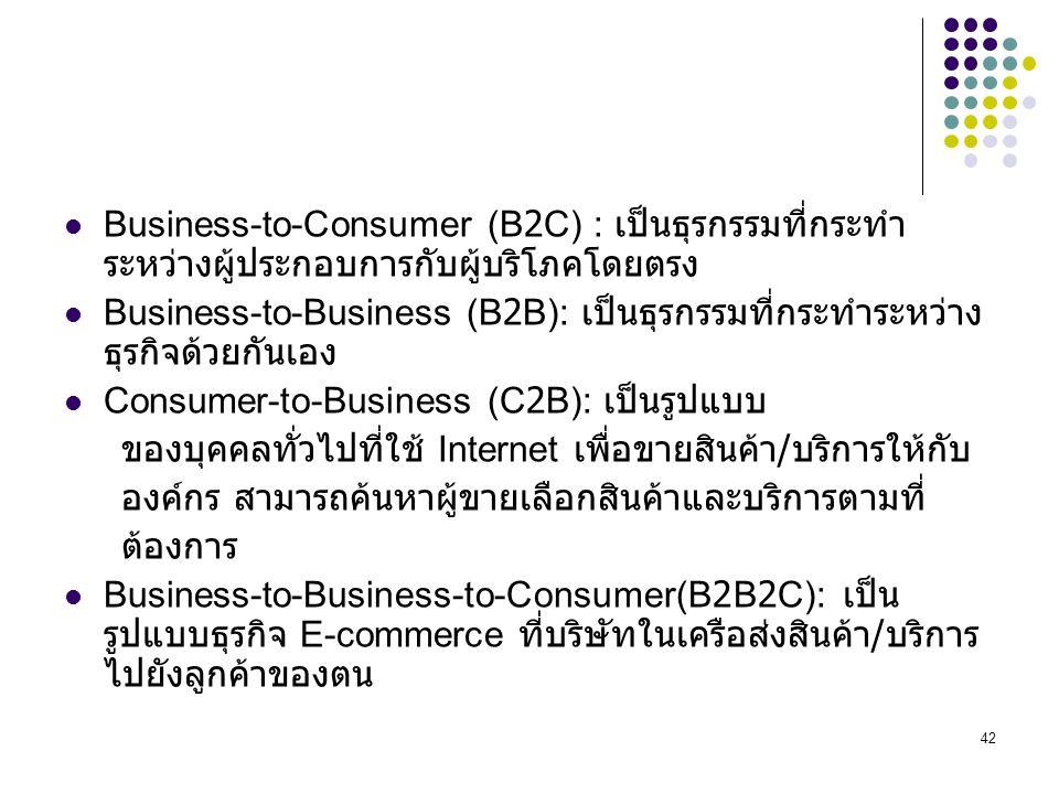 Business-to-Consumer (B2C) : เป็นธุรกรรมที่กระทำระหว่างผู้ประกอบการกับผู้บริโภคโดยตรง