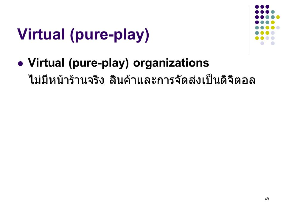 Virtual (pure-play) Virtual (pure-play) organizations