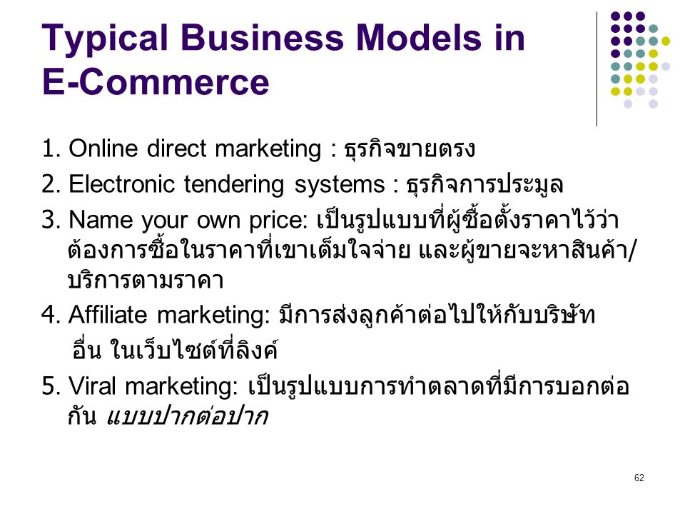 Typical Business Models in E-Commerce